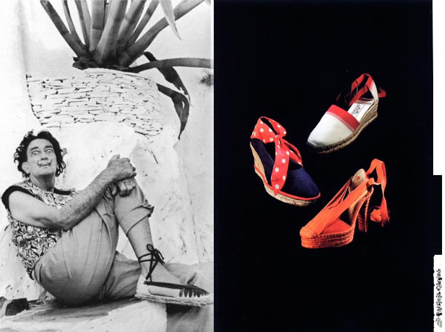 Alpargatas, Salvador Dalí en Portlligat Fotografía de César de la Lama, 1966. Alpargatas, Valencia, finales siglo XIX